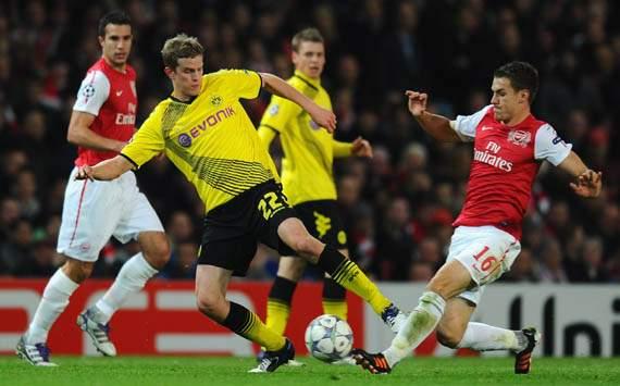 UEFA Champions  - Arsenal FC v Borussia Dortmund, Aaron Ramsey and Sven Bender
