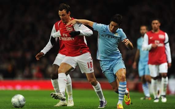 Carling Cup - Arsenal v Manchester City, Sebastien Squillaci and Samir Nasri