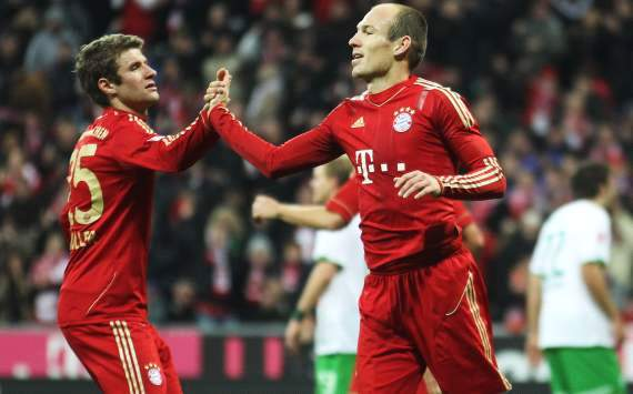 FC Bayern Munich vs. Werder Bremen, Thomas Muller, Arjen Robben