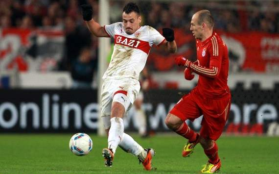 Stuttgart's Cristian Molinaro accuses Bayern Munich's Arjen Robben of play-acting