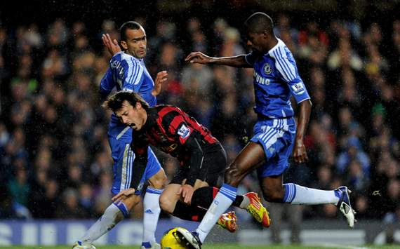 EPL - Chelsea v Manchester City, David Silva, Jose Bosingwa and Ramires