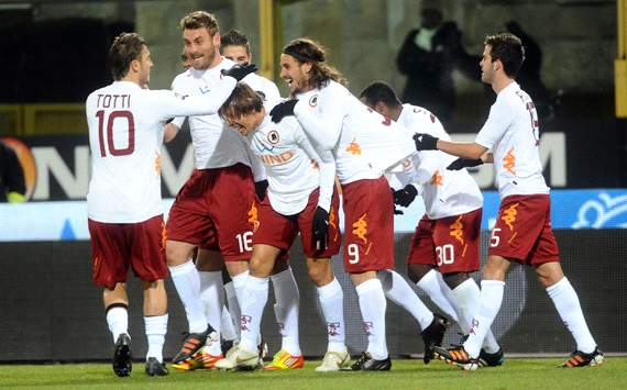 Roma players celebrating - Bologna-Roma (Getty Images)