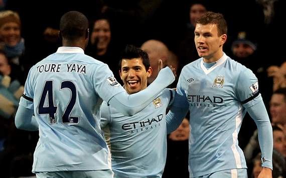 EPL - Manchester City v Liverpool, Sergio Aguero, Yaya Toure and Edin Dzeko