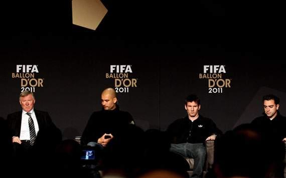 FIFA Ballon d'Or Gala 2011: Alex Ferguson, Pep Guardiola, Lionel Messi, Xavi Hernandez