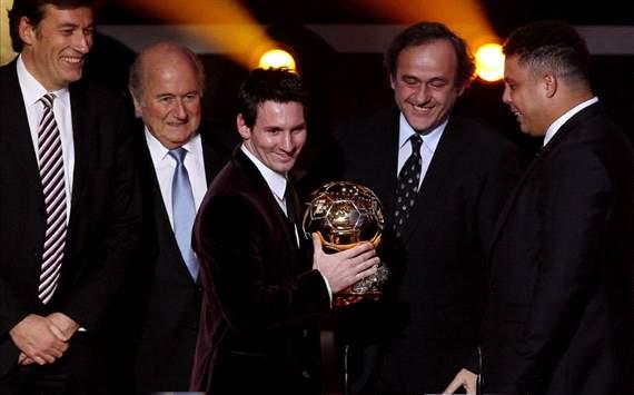 Blatter, Lionel Messi, Michel Platini and Ronaldo, Ballon Dor 2011