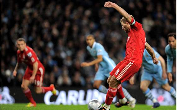 Carling Cup : Steven Gerrard, Manchester City v Liverpool