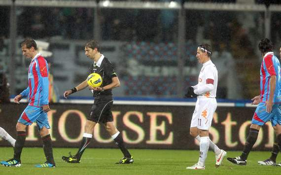 Catania and Roma players - Catania-Roma - Serie A (Getty Images)
