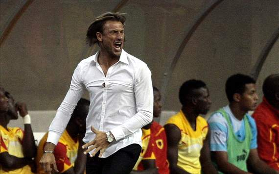 Zambia coach Herve Renard animated on the touchline