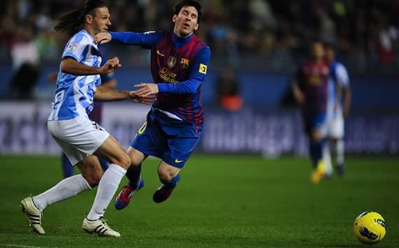 Liga BBVA: Málaga-Barcelona: Lionel Messi, Martín Demichelis