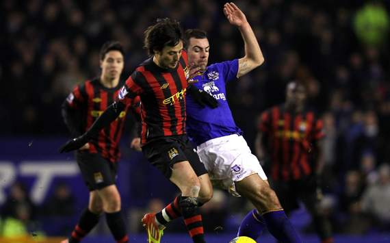 EPL - Everton vs Manchester City, Darron Gibson & David Silva