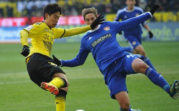 Dortmund v Leverkusen;Shinji Kagawa scoring the goal