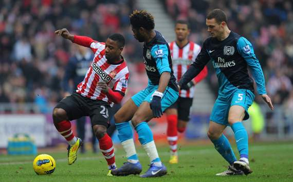 EPL - Sunderland v Arsenal, Alexandre Song and Thomas Vermaelen