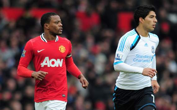 EPL - Manchester United v Liverpool, Patrice Evra and Luis Suarez