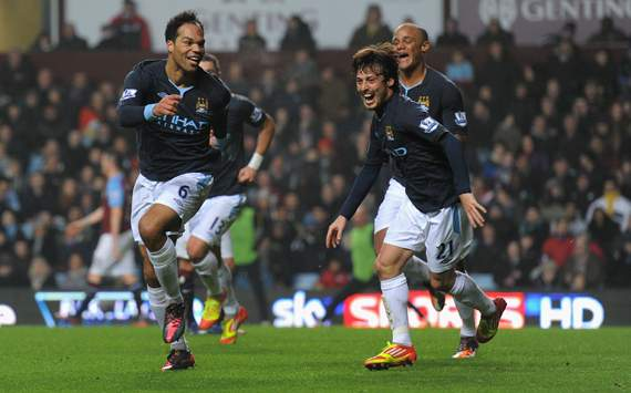 EPL-Aston Villa v Manchester City, Joleon Lescott and David Silva