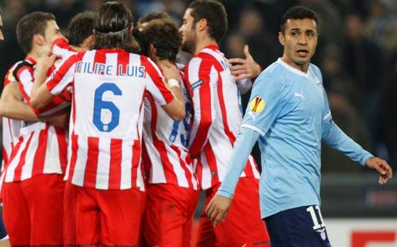 Atletico Madrid players celebrate a goal against Lazio (Getty Images)
