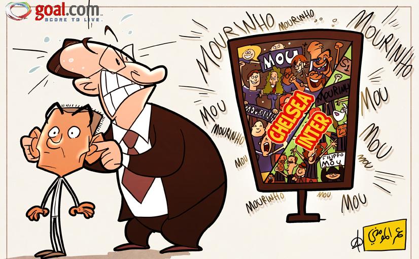 كاريكاتير جماهير الإنتر وتشيلسي وتمسكها بمورينهو