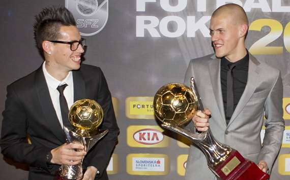 Best Slovak Footballers Of Year 2011 - Marek Hamsik and Martin Skrtel