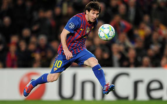 Lionel Messi en el Barcelona-Bayer Leverkusen de la Champions League