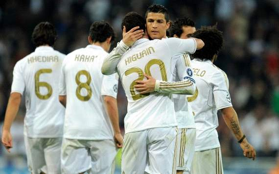Real Madrid players celebrate after a goal against Cska (Getty Images)