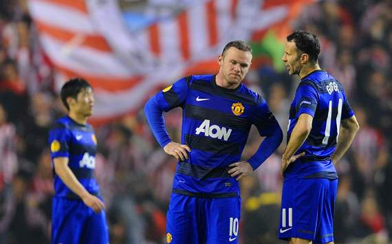 UEFA Europa League - Athletic Bilbao v FC Manchester United, Ji-Sung Park, Wayne Rooney and Ryan Giggs