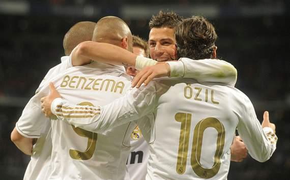 Karim Benzema, Cristiano Ronaldo, Mesut Ozil, Real Madrid, Malaga