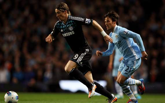EPL - Manchester City v Chelsea, Fernando Torres and David Silva