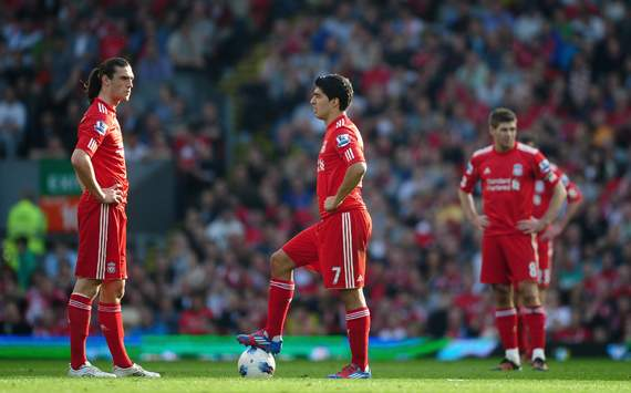 EPL - Liverpool v Wigan Athletic, Andy Carroll, Luis Suarez and Steven Gerrard