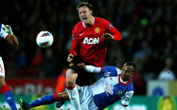 EPL, Marcus Olsson; Phil Jones, Blackburn Rovers v Manchester United