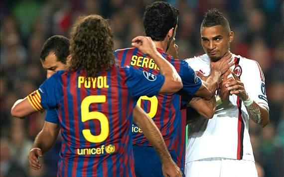 Busquets, Puyol, Boateng - Barcelona v Milan Champions League