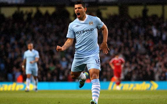 EPL: Sergio Aguero, Manchester City v West Bromwich