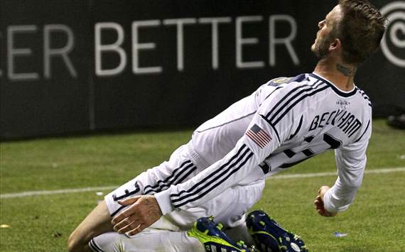 beckham celebrates la galaxy wonder goal in front of