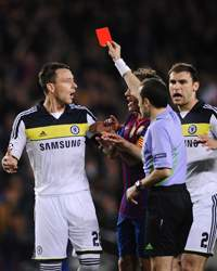 CL - FC Barcelona v FC Chelsea, John Terry and referee Cuneyt Cakir