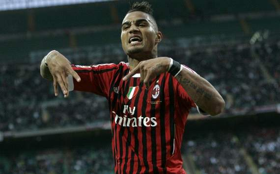 Kevin Prince Boateng celebrates his goal in Ac Milan-Genoa