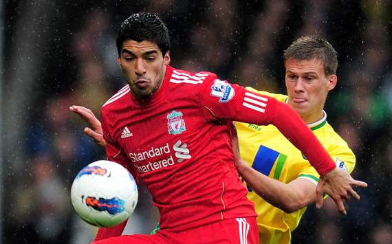 EPL: Luis Suarez - Adam Drury, Norwich City v Liverpool 