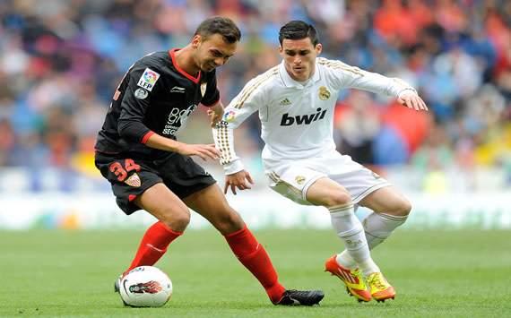 Deivid y Callejon durante el Real Madrid-Sevilla de la Liga BBVA