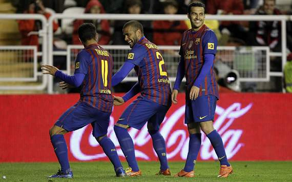 Thiago, Dani Alves, Pedro, Rayo Vallecano, Barcelona
