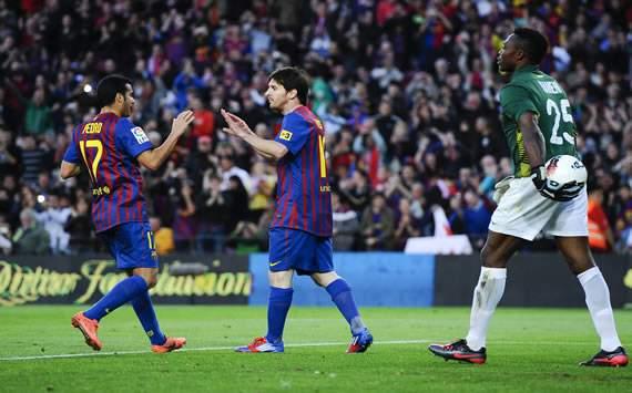 Leo Messi, Pedro Rodríguez, Carlos Kameni - FC Barcelona vs Málaga