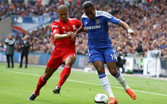 FA Cup Final, Liverpool v Chelsea, Didier Drogba; Glen Johnson