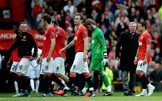 EPL-Manchester United v Swansea City, Wayne Rooney and Sir Alex Ferguson