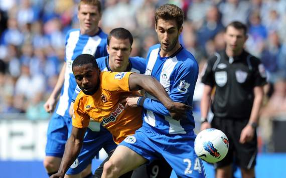 EPL - Wigan Athletic vs Wolverhampton,Adrian Lopez & Sylvan Ebanks-Blake