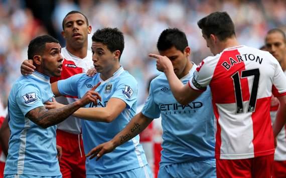 EPL: Carlos Tevez - Joey Barton, Manchester City v QPR
