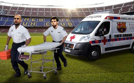 Leo Messi y Pep Guardiola atienden las bajas del Barcelona