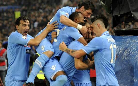 Napoli players celebrate a goal