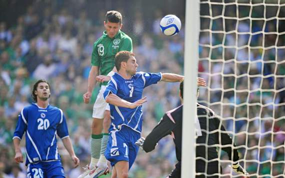 26 May 2012; Shane Long, Republic of Ireland, scores his side's first goal. Senior International Friendly, Republic of Ireland v Bosnia & Herzegovina, Aviva Stadium, Lansdowne Road, Dublin.