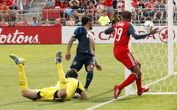 Toronto FC's Reggie Lambe justs misses the net vs. Philadelphia Union