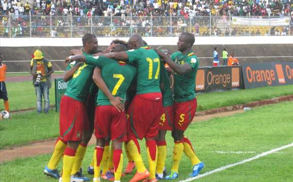 Cameroon celebrate a goal