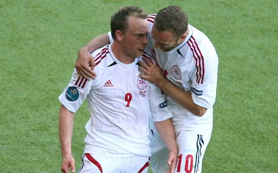 Michael Krohn Deli and Dennis Rommedahl celebrating the goal of Denmark against Netherlands, Euro 2012