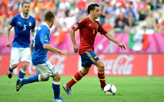 Xavi Hernandez during the Spain-Italy match