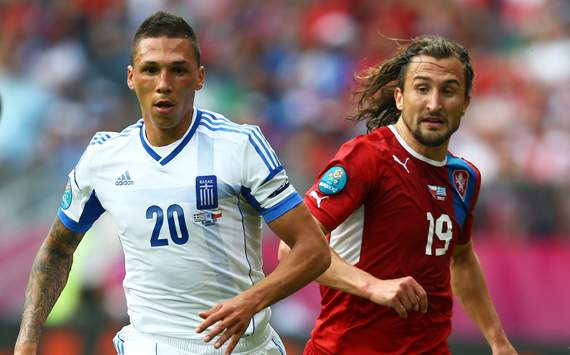 UEFA EURO - Greece v Czech Republic, Jose Holebas and Petr Jiracek