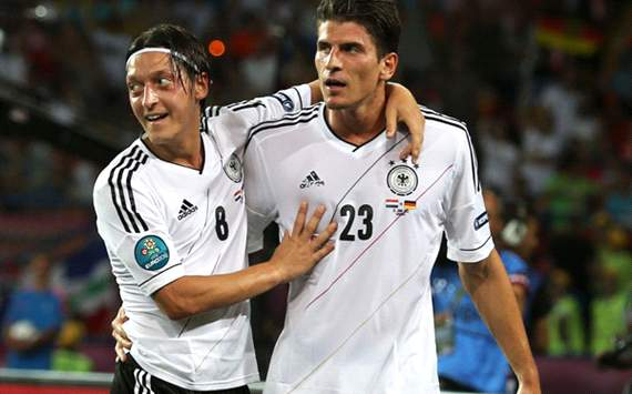 Netherlands v Germany - Group B: UEFA EURO 2012, mesut Özil and Mario Gomez